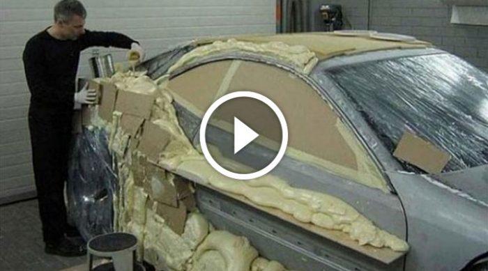 Он покрыл свою машину строительной пеной, и вот что из этого вышло!