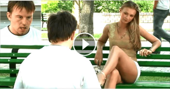 Мужики сидели себе на скамейке, отдыхали. Но пришла эта девушка и вдруг стало очень жарко.
