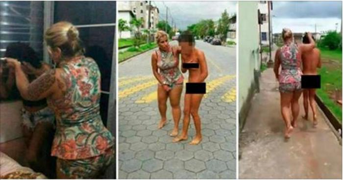 Разъяренная жена провела голой по улице юную любовницу мужа (Фото + Видео)