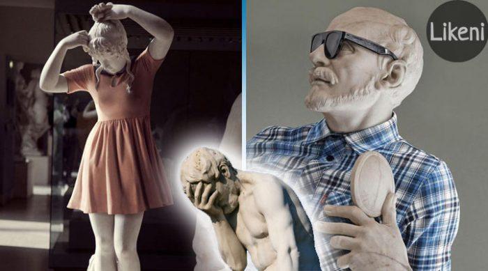 Аристотель с айпадом. Эти два француза превратили древние античные статуи в… хипстеров!